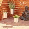 Set of 3 Contemporary Metal Planters in Stands - Olivia & May - image 2 of 3