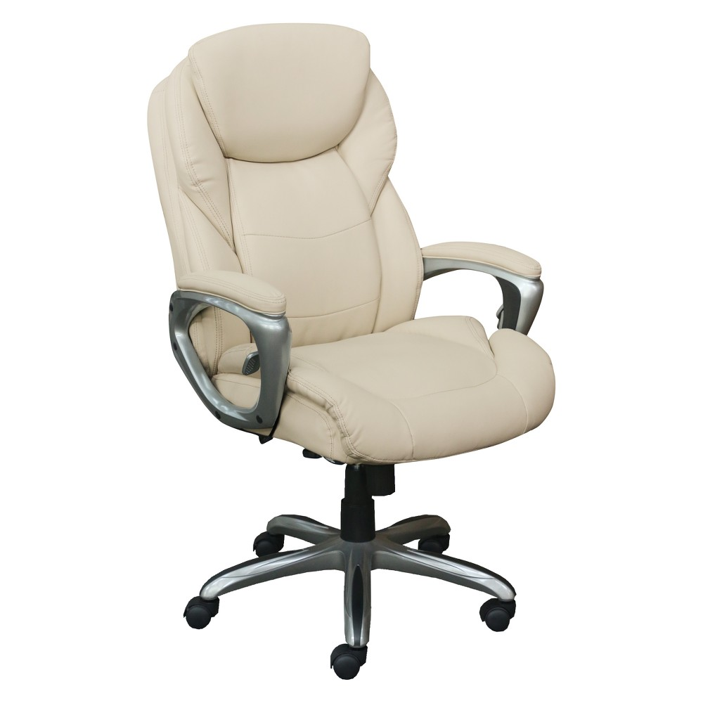 Works My Fit Executive Office Chair with Active Lumbar Support Inspired Ivory - Serta