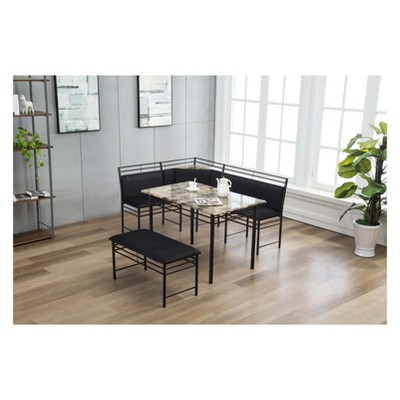 Merveilleux Gareth Breakfast Nook Set Black (3Pc)   Boraam