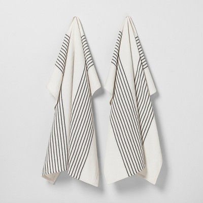 2pk Kitchen Towel Black/White Stripe - Hearth & Hand™ with Magnolia