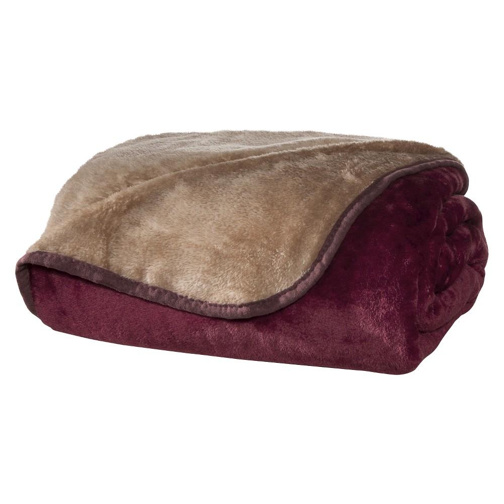 Image of All Seasons Reversible Plush Blanket (Twin) Burgundy/Tan, Burgundy & Tan