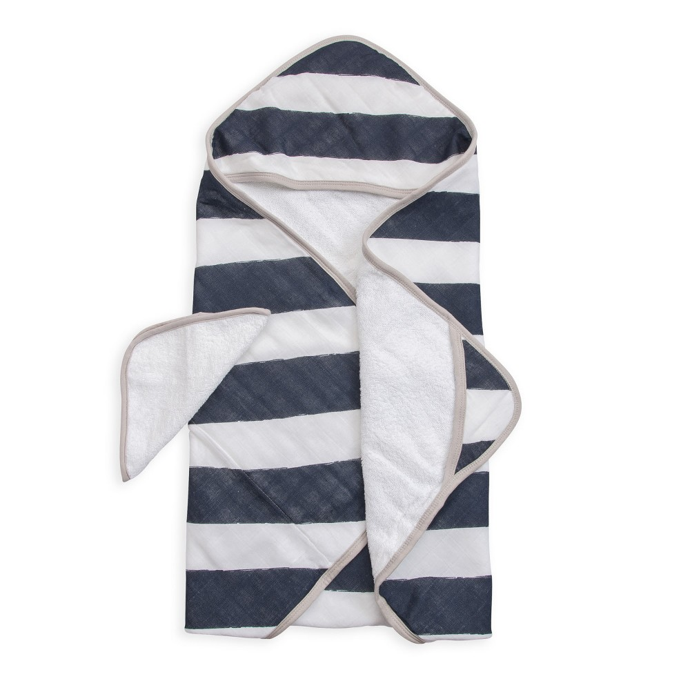 Image of Little Unicorn Hooded Towel - Navy (Blue) Stripe