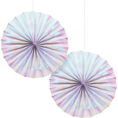 2ct Iridescent Party Paper Fans