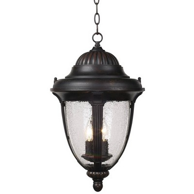 """John Timberland Traditional Outdoor Ceiling Light Hanging Lantern Bronze 20 1/2"""" Seedy Glass Damp Rated for Exterior Porch Patio"""