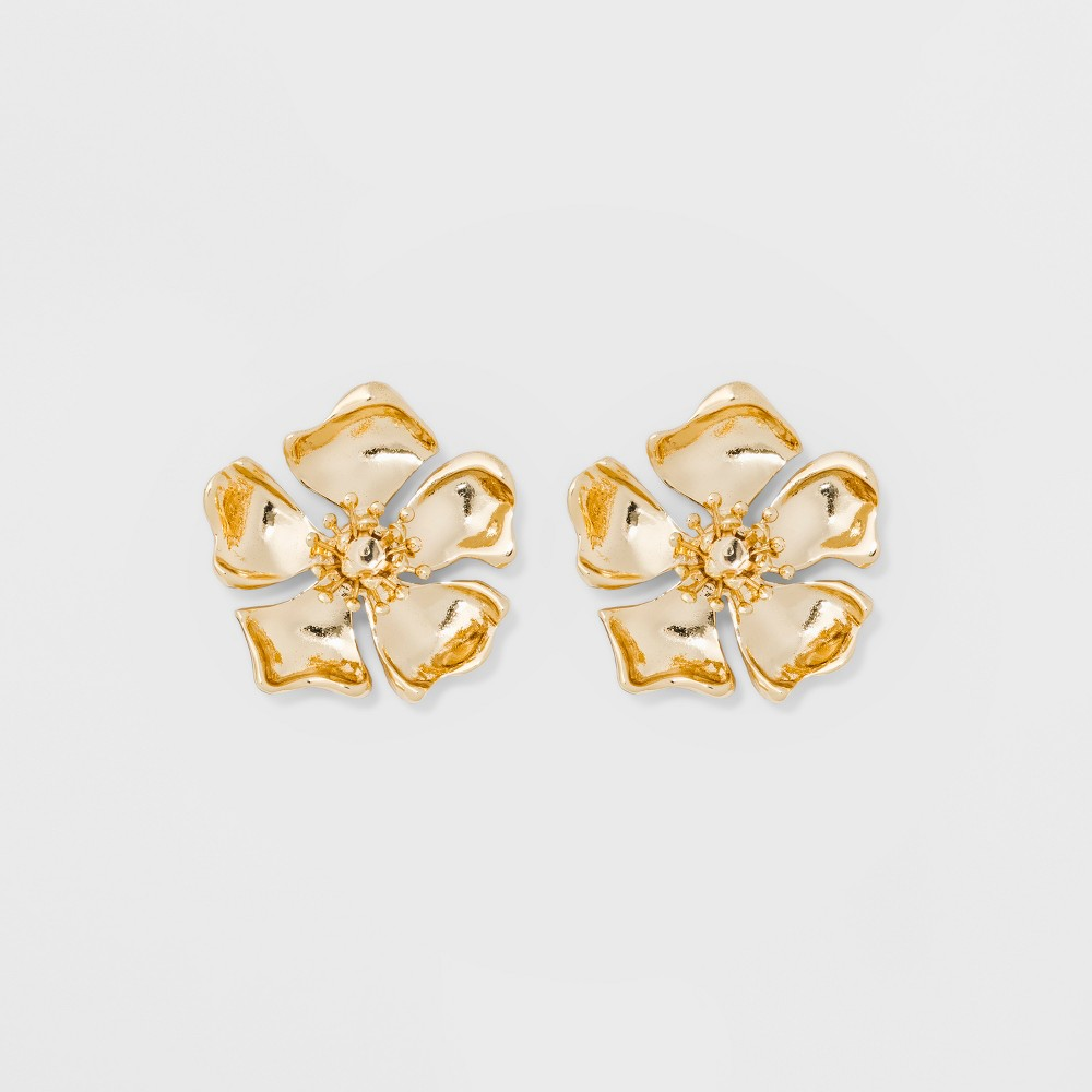 Image of Sugarfix by BaubleBar Golden Flower Stud Earrings - Gold, Girl's