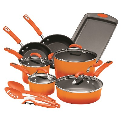 Rachael Ray Porcelain Enamel Aluminum Nonstick 14 piece Cookware Set - Orange