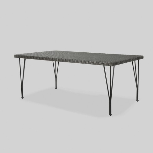 Bedford Rectangle Wicker Outdoor Patio Dining Table - Gray - Christopher Knight Home - image 1 of 5