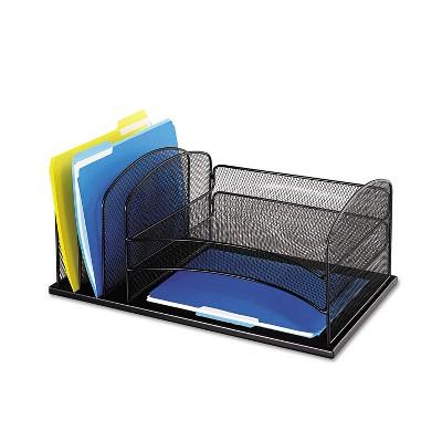 Safco Desk Organizer Six Sections Steel Mesh 19 3/8 x 11 3/8 x 8 Black 3254BL