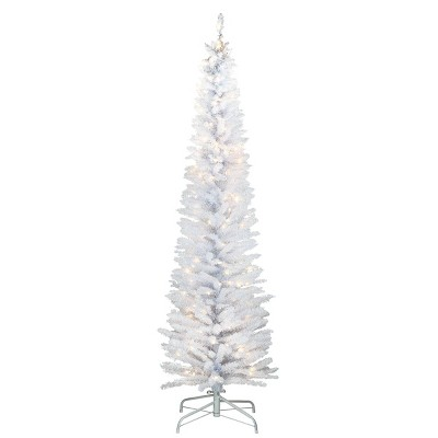 6ft National Christmas Tree Company Pre-Lit White Iridescent Tinsel Artificial Christmas Tree with Metal Stand & 150 Clear Lights
