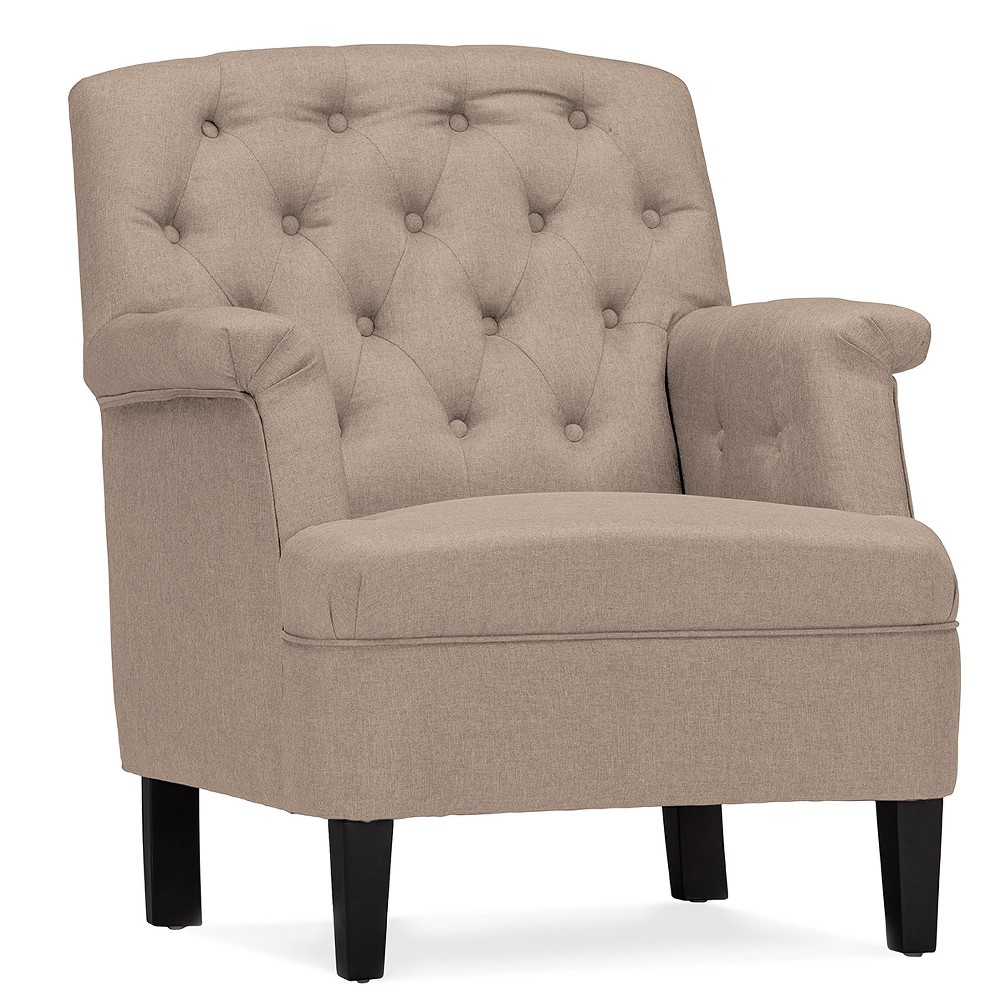 Jester Classic Retro Modern Contemporary Fabric Upholstered Button - Tufted Armchair - Buff Beige - Baxton Studio
