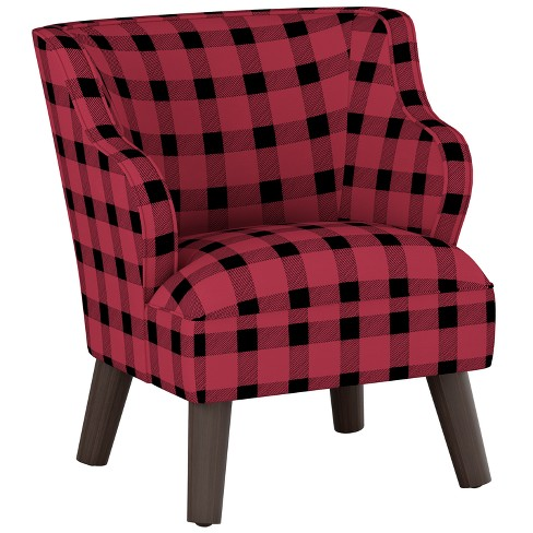 Kids Curved Arm Modern Chair Black/Red Plaid with Espresso Legs - Pillowfort™ - image 1 of 4