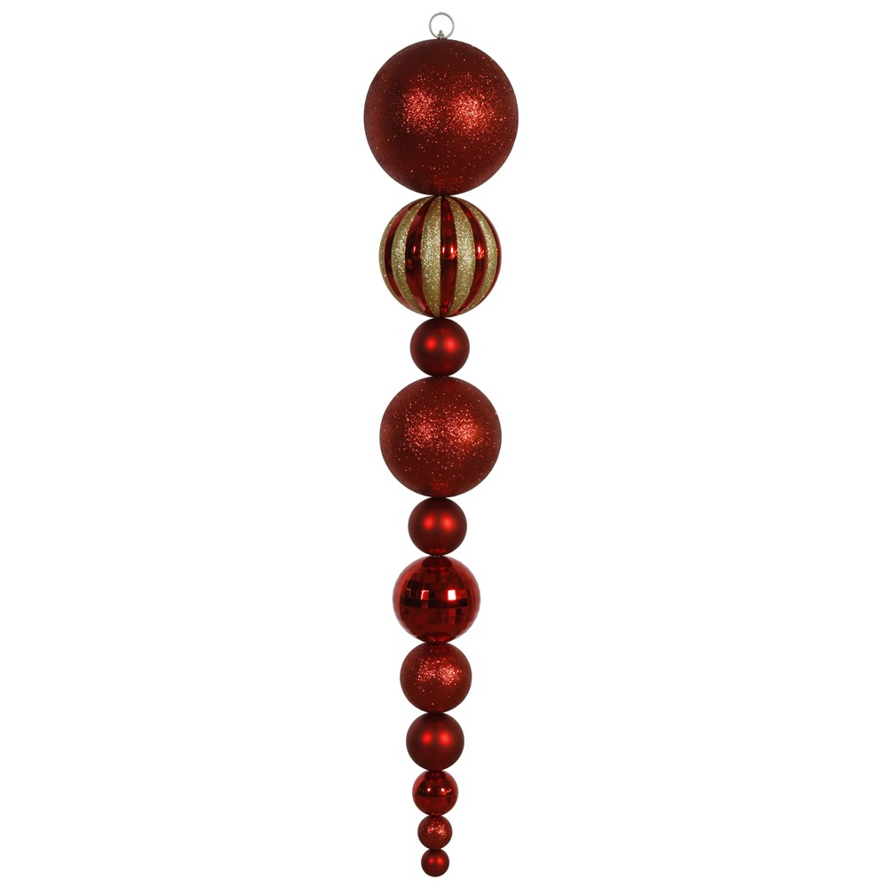 Vickerman 55 Red Shiny/Matte Ball Finial Christmas Ornament