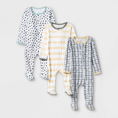 Baby 3pk Dotted Sleep N' Play - Cloud Island™ Yellow/Gray 3-6M