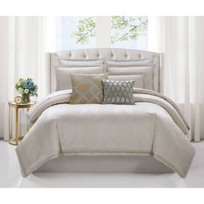 Charisma Tristano Woven Jacquard 3 Piece Comforter Set - Gold
