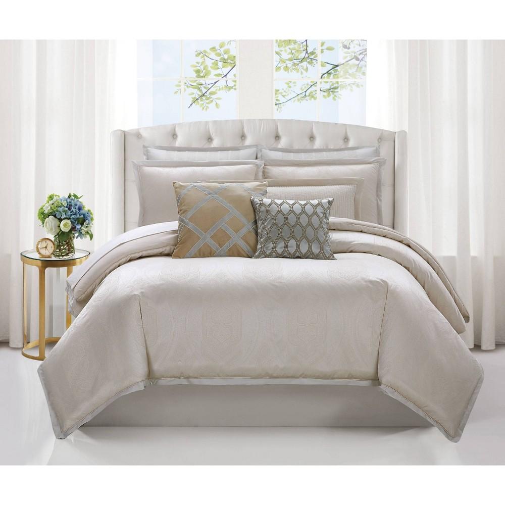 Queen 3pc Tristano Woven Jacquard Comforter Set Gold Charisma