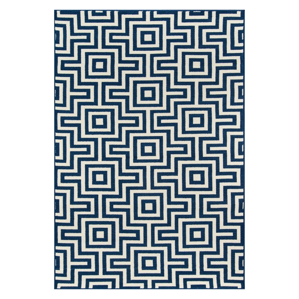"Image of ""2'3""""X4'6"""" Geometric Loomed Accent Rug Navy - Momeni, Blue"""