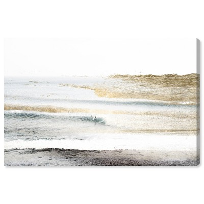 """10"""" x 15"""" Beach Landscape White Nautical and Coastal Unframed Canvas Wall Art in Gold - Oliver Gal"""