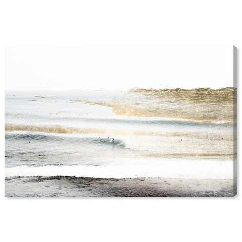 """10"""" x 15"""" Beach Landscape White Nautical and Coastal Unframed Canvas Wall Art in Gold - Oliver Gal - image 1 of 4"""