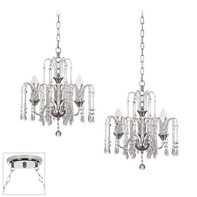 Vienna Full Spectrum Chrome Swag Pendant Chandelier Crystal Rain 2-Light Fixture for Dining Room House Foyer Kitchen Entryway