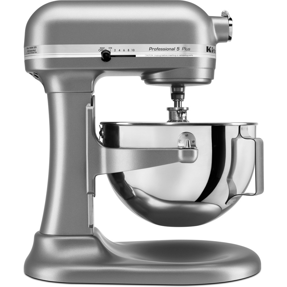 KitchenAid Professional 5qt Mixer - Silver KV25G0X, Silver Gray The KitchenAid Pro 5 Plus 5 Quart Bowl-Lift Stand Mixer is perfect for heavy, dense mixtures. It offers the capacity to make up to 9 dozen cookies in a single batch and 10 speeds to thoroughly mix, knead and whip ingredients quickly and easily. For even more versatility, use the power hub to turn your stand mixer into a culinary center, with over 10 optional hub powered attachments*, from food grinders to pasta makers and more. *sold separately. Color: Silver Gray.