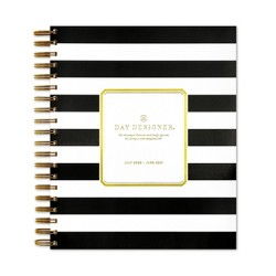 "2020-2021 Academic Planner 8""x10"" Frosted Daily/Monthly Wirebound Black/White stripe - Day Designer"