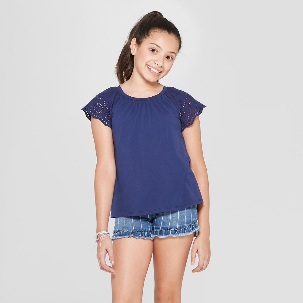 Girls' Short Sleeve Eyelet Sleeve T-Shirt - Cat & Jack Navy L, Blue