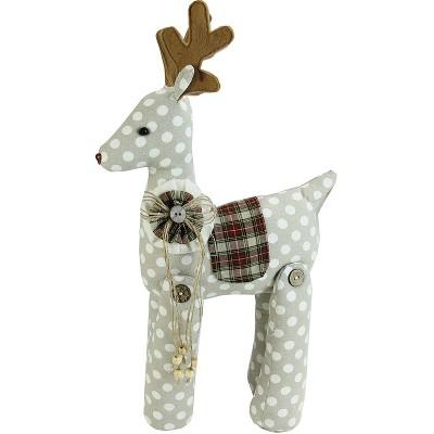"""Northlight 20"""" White and Brown Polka Dot Reindeer Christmas Tabletop Decor"""
