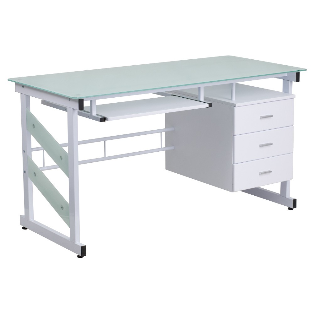 Computer Desk with Three Drawer Pedestal - Frosted Glass Top/White Frame - Riverstone Furniture Collection