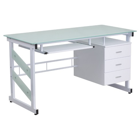 Computer Desk With Three Drawer Pedestal Frosted Glass Top White Frame Riverstone Furniture Collection