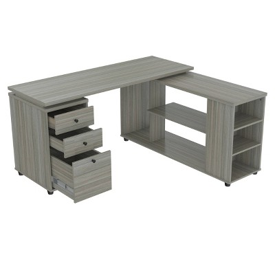 L Shaped Computer Workstation Gray - Inval