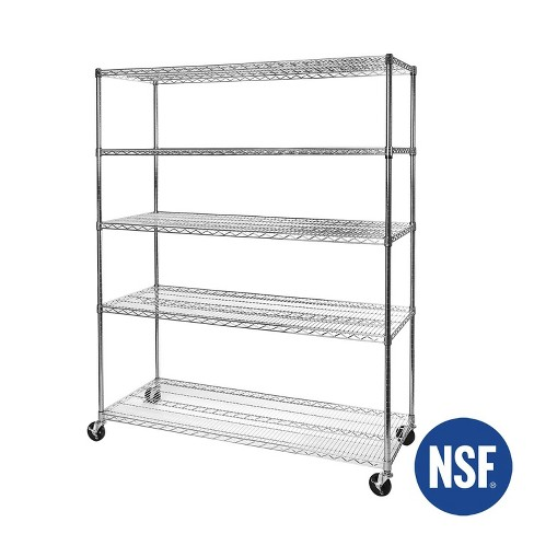 5-Tier UltraZinc Steel Wire Shelving with Wheels 24x60x72 – Seville Classics - image 1 of 4