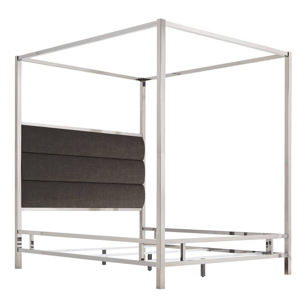 Queen Manhattan Canopy Bed with Horizontal Panel Headboard Charcoal (Grey) - Inspire Q