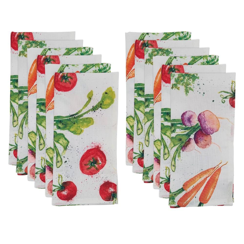 Image of 12pk Polyester Veggie Print Table Napkins - Saro Lifestyle