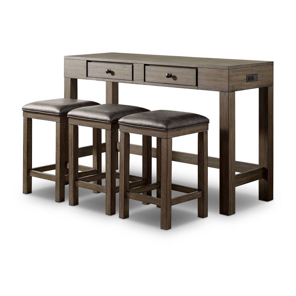 Cheap 4pc Cohasset Counter Height Table Set with USB Plug Gray - HOMES: Inside + Out
