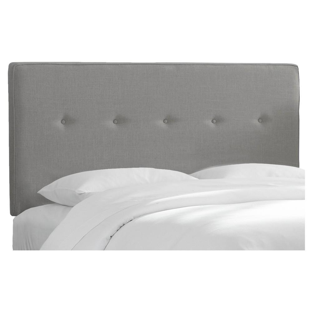 Full Five Button Headboard Linen Gray - Project 62
