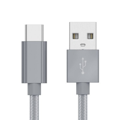 Just Wireless 10' USB-C to USB-A Braided Cable - Slate