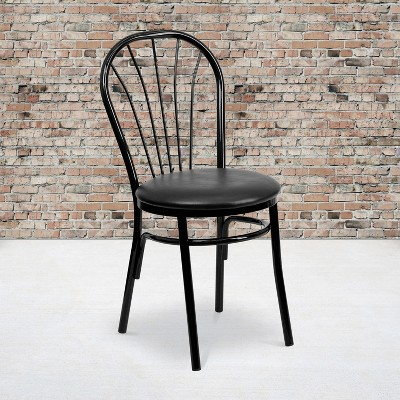 Emma and Oliver Fan Back Metal Restaurant Dining Chair with Vinyl Seat