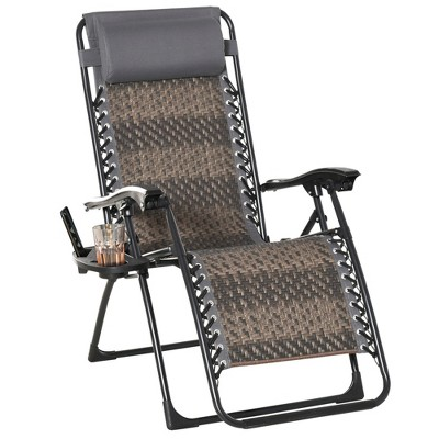 Outsunny PE Rattan Zero Gravity Folding Lounge Chair with Headrest, Cup & Phone Holders