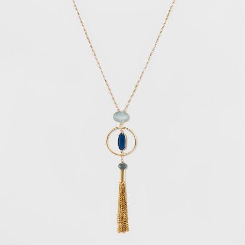 2 Stones & A Glass Bead with Tassel Long Necklace - A New Day™ - image 1 of 3