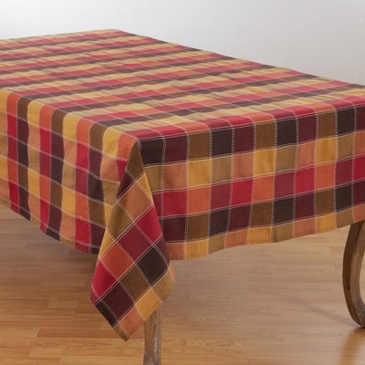 Saro Lifestyle Cotton And Poly Blend Stitched Plaid Tablecloth