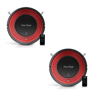 Pyle PUCRC95.5 PureClean Smart Automatic Programmable Robot Vacuum Home Cleaning System for All Indoor Floor Surfaces, Red (2 Pack)
