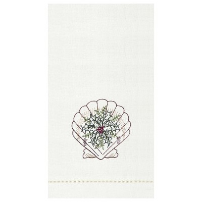C&F Home Shell With Holly Hemstitch Decorative Guest Towel