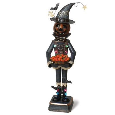 Gerson International 3Ft. Tall Battery Operated Lighted Metal Mr. Pumpkin Candy Bowl Holder.