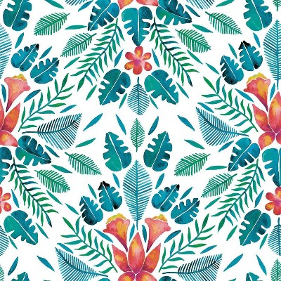 RoomMates Cat Coquillette Philodendron Peel and Stick Wallpaper Orange/Blue