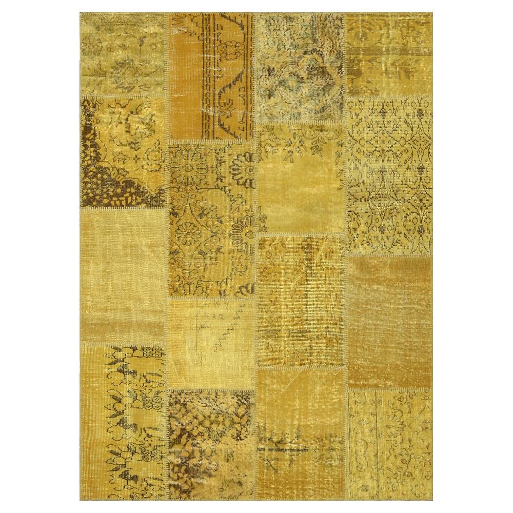"Image of ""Antique Patchwork Area Rug Saffron 5'3""""x7'3"""", Yellow"""