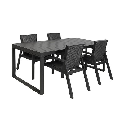 "78""x29"" Metal & Resin Rectangular Patio Dining Table with Cover - Black - Olivia & May"