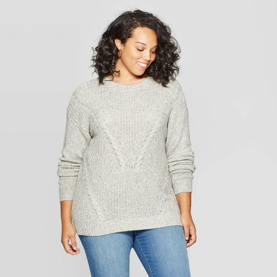 Women's Plus Size Long Sleeve Crewneck Cable Pullover Sweater   Ava & Viv by Ava & Viv