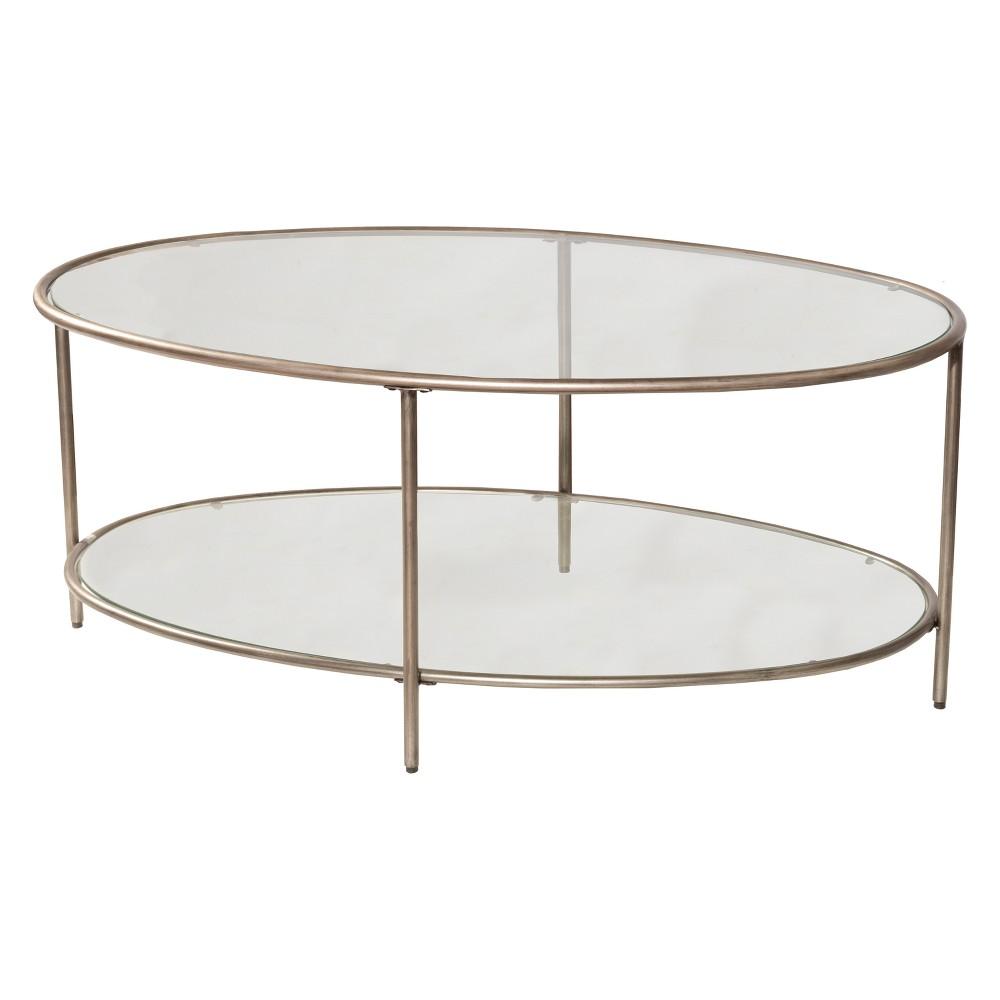 Corbin Coffee Table with Two (2) Glass Shelves Silver/Black Rub - Hillsdale Furniture, Black/Silver