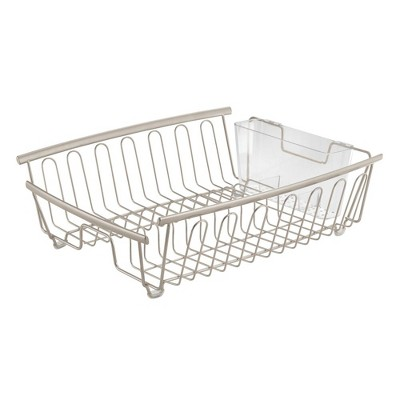 mDesign Large Kitchen Sink Dish Drying Rack, 2 Pieces