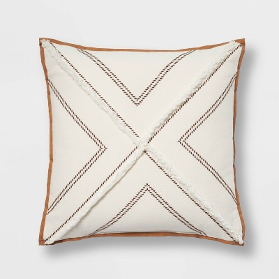 """18""""x18"""" Embroidered Square Throw Pillow with Faux Leather Trim Cream - Threshold™"""